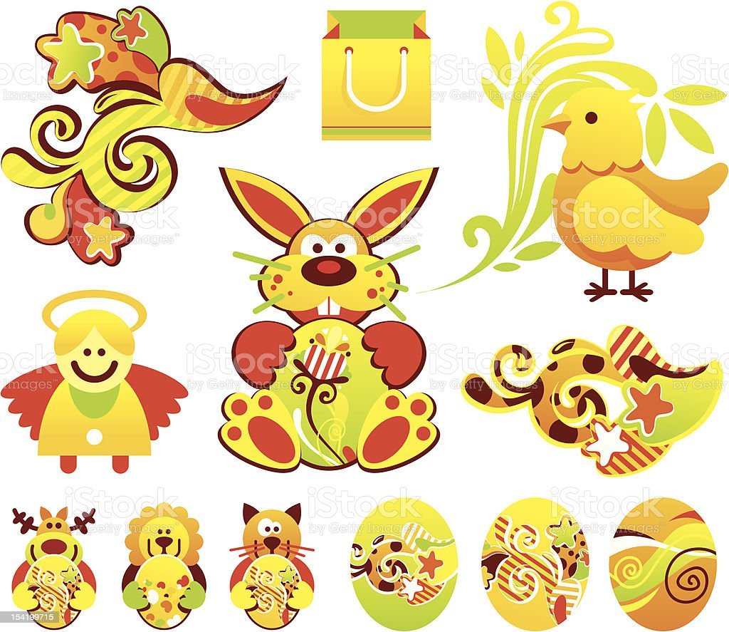 Easter holiday items royalty-free stock vector art