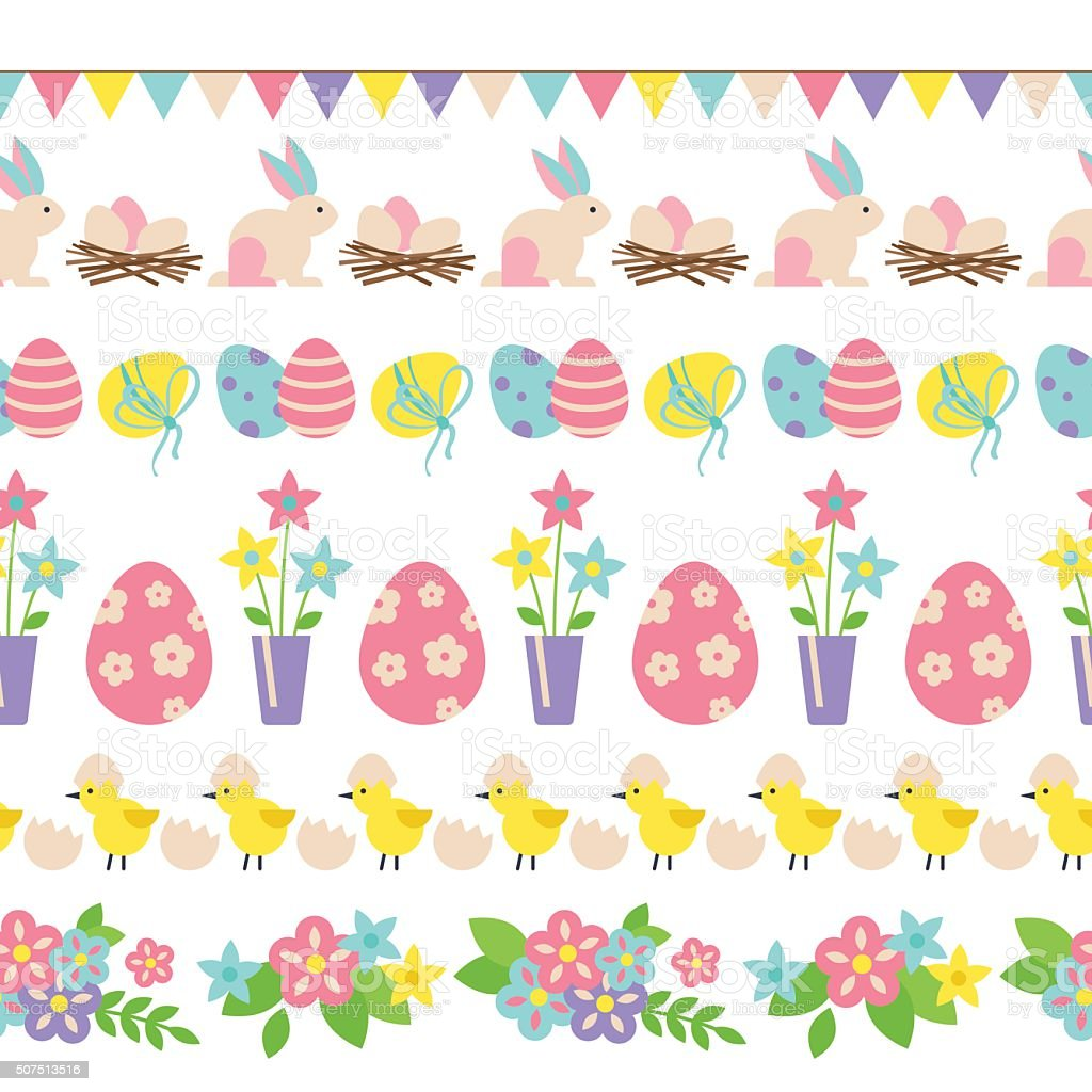 Easter holiday seamless border design with flat elements vector art illustration