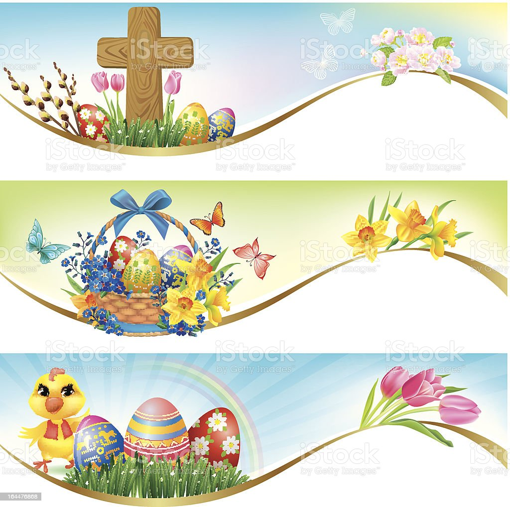 Easter horizontal banners royalty-free stock vector art