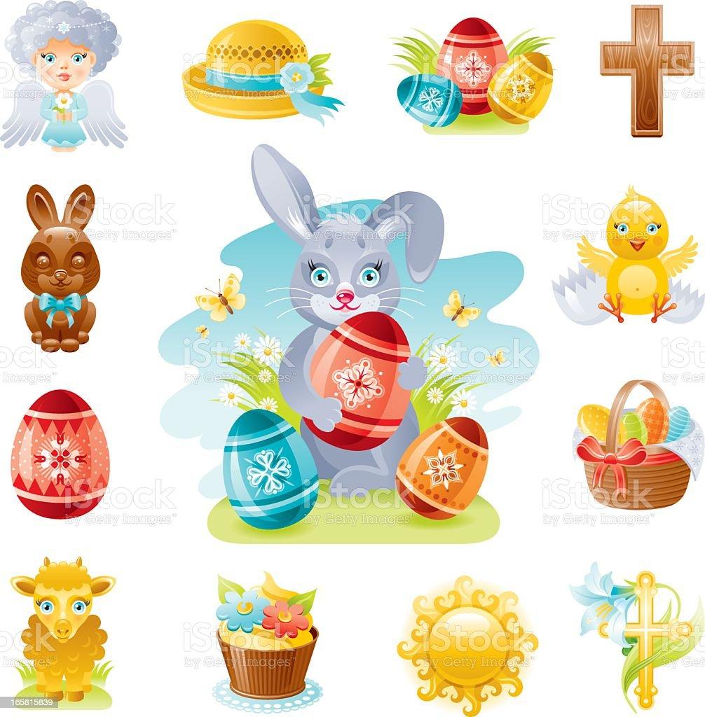 Easter icon set vector art illustration