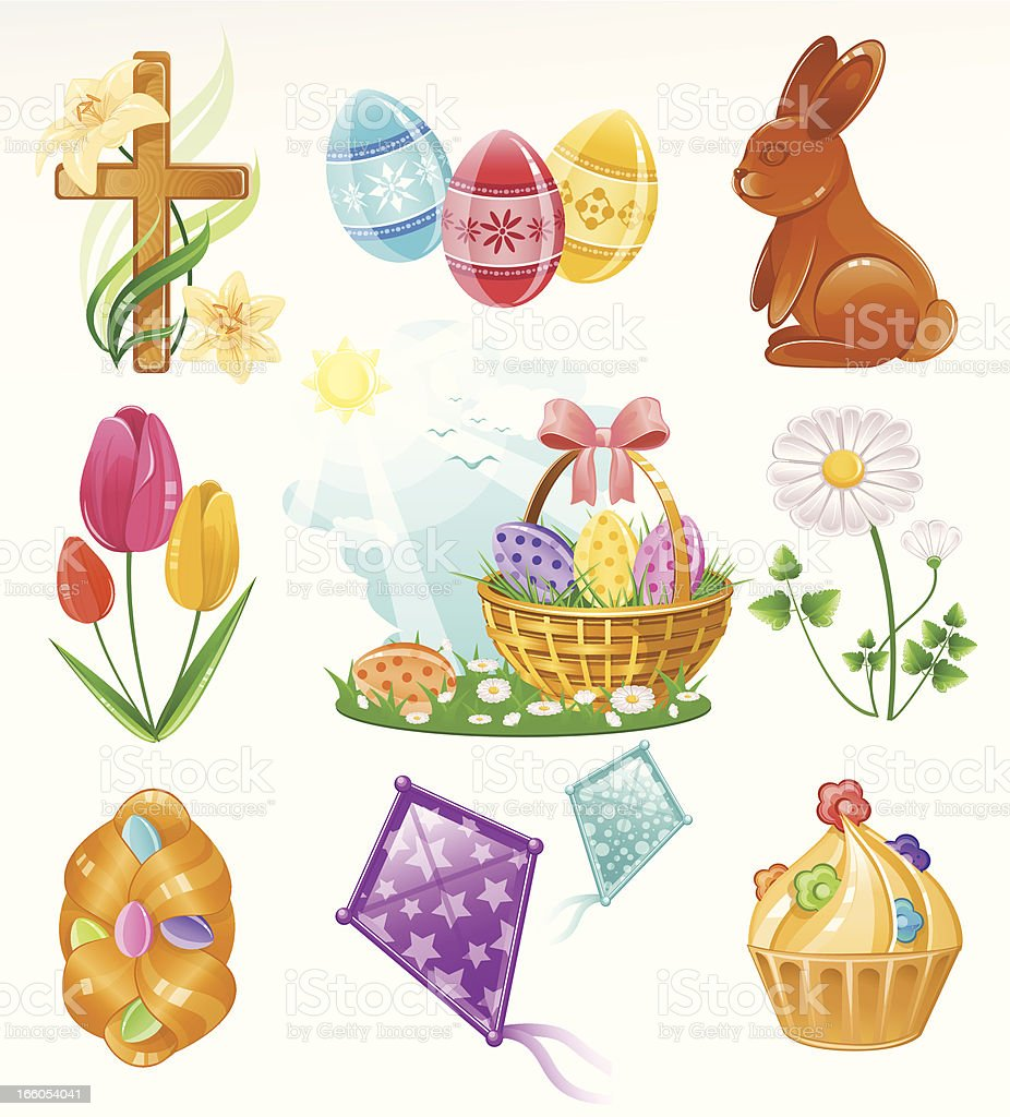 Easter Icon Set vector art illustration