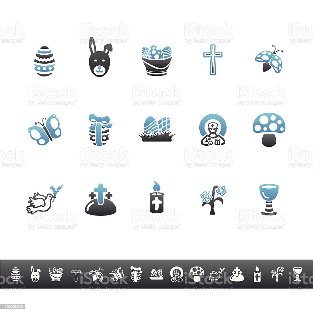 Easter Icons | Blue Grey royalty-free stock vector art