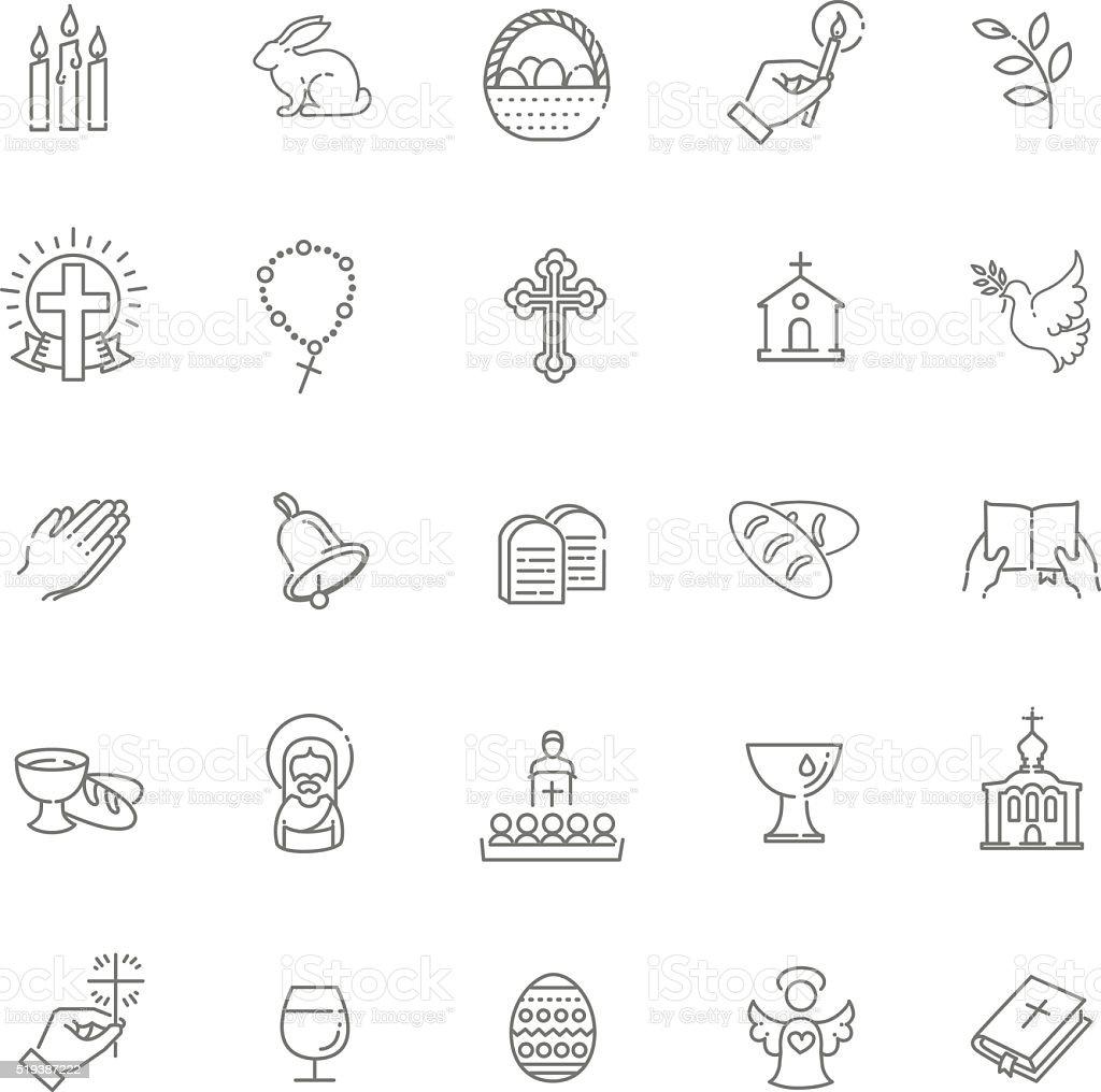 Easter icons set. Christianity icon set vector art illustration