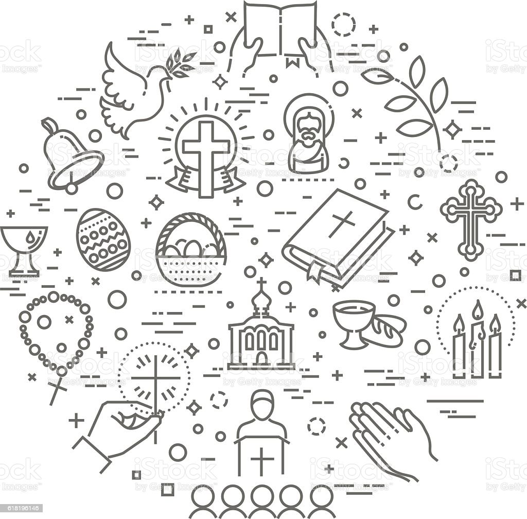 Easter icons set. Christianity vector art illustration