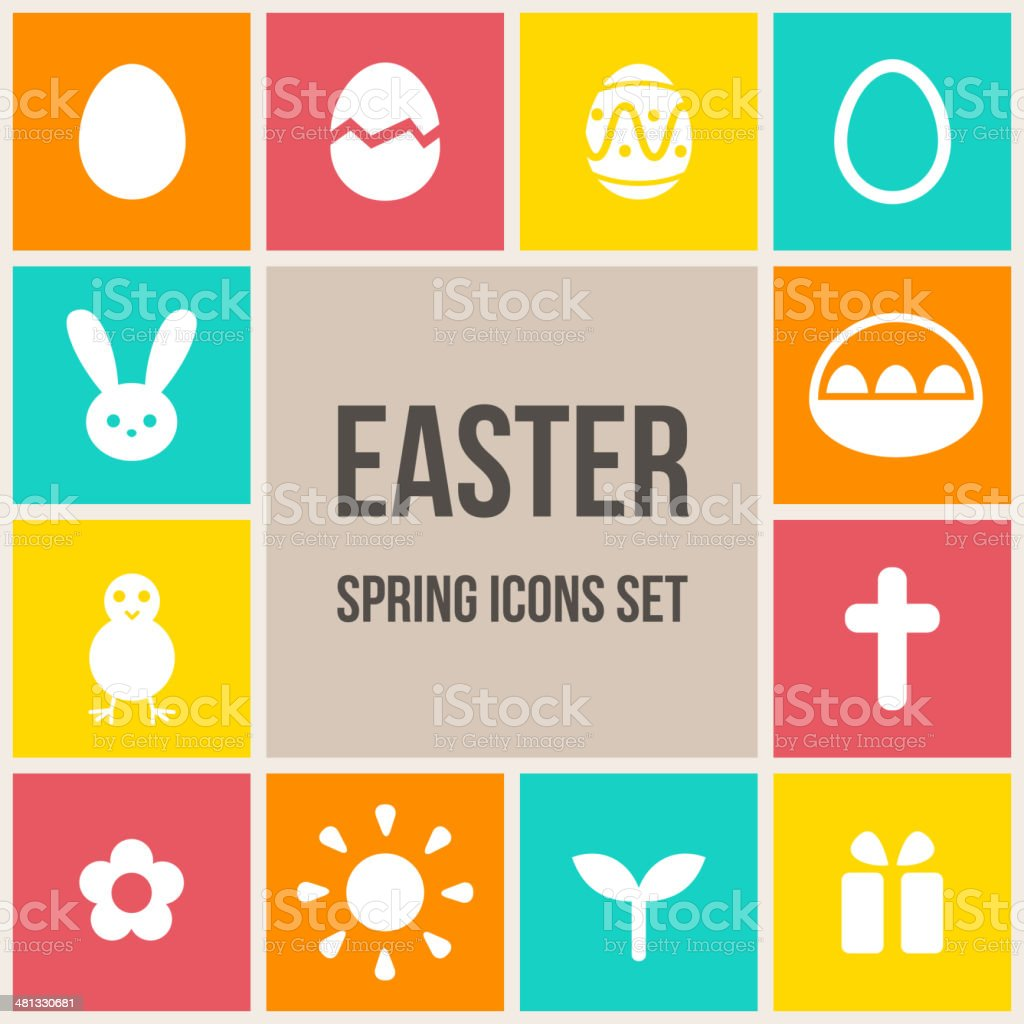 Easter icons set royalty-free stock vector art