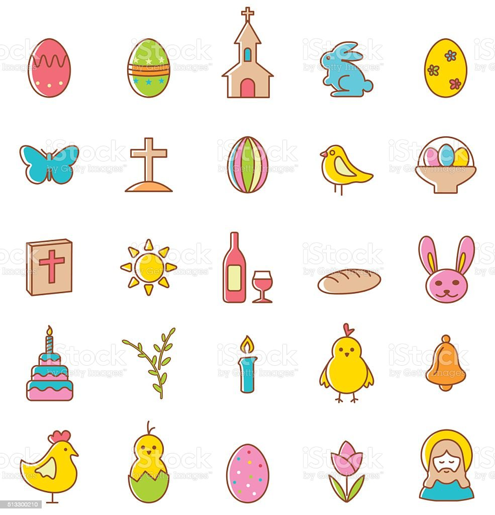 Easter icons set.Vector vector art illustration