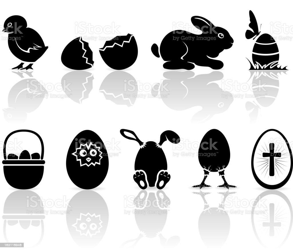 Easter icons vector art illustration