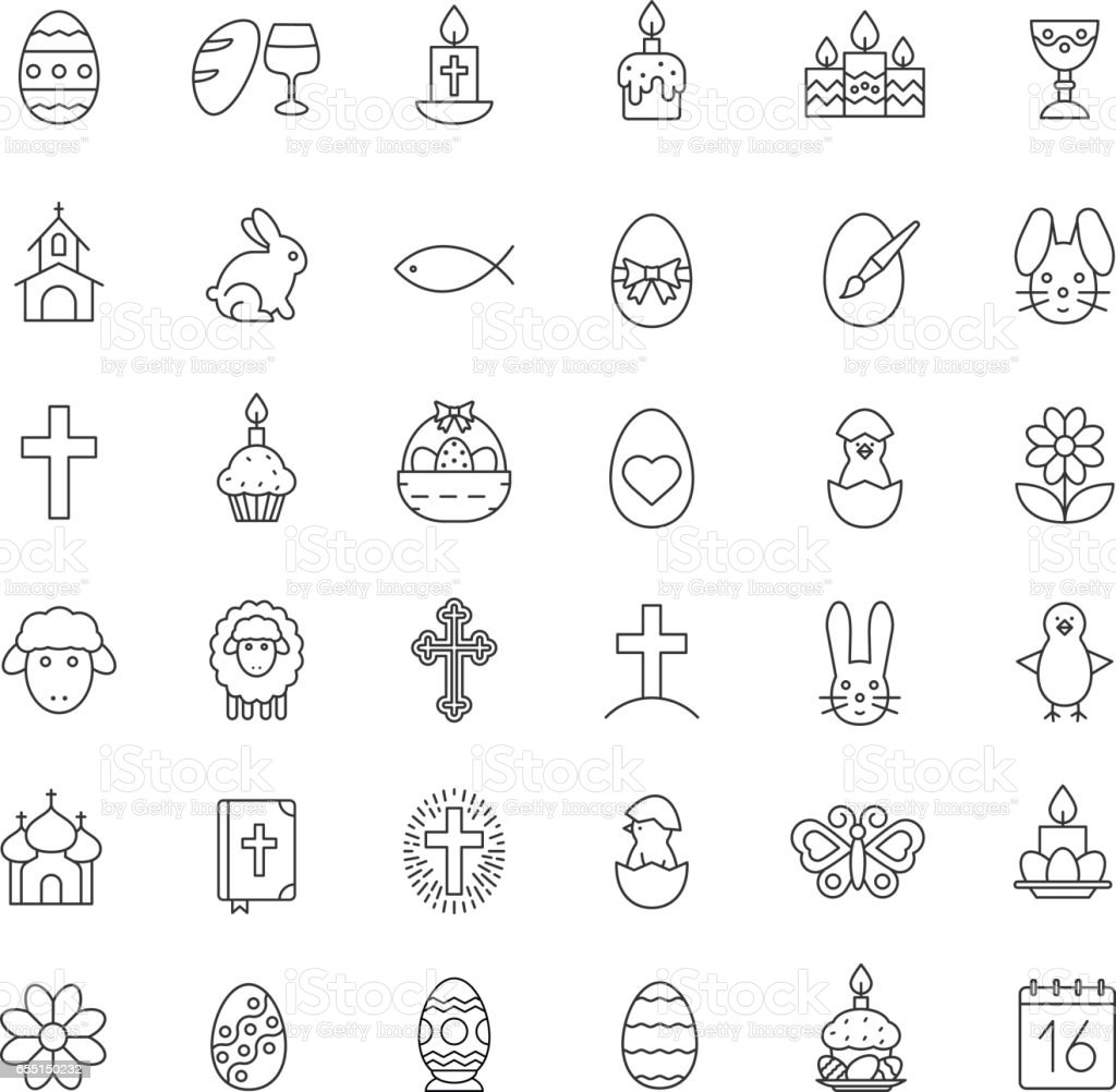Easter icons vector art illustration