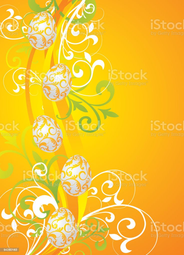 easter illustration with color painted eggs on spring background royalty-free stock vector art