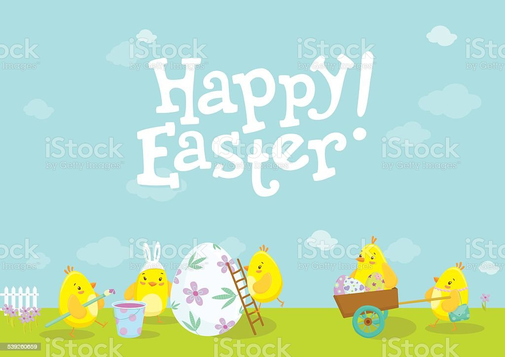 Easter illustration with cute chicken cartoons. vector art illustration