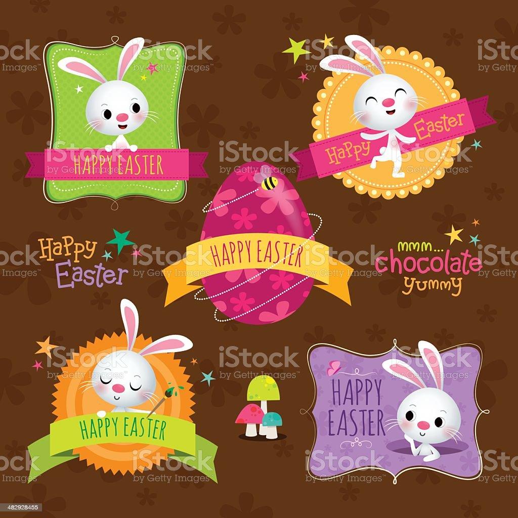 Easter labels vector art illustration