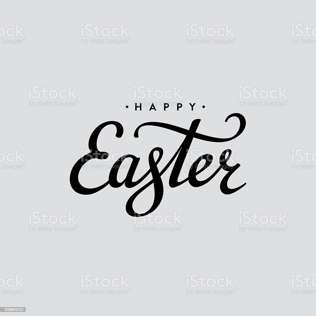 Easter lettering black vector art illustration