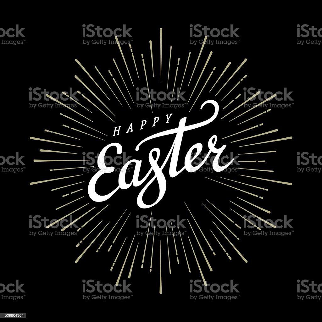 Easter lettering starburst vector art illustration