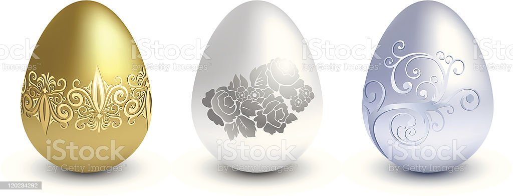 Easter metal eggs royalty-free stock vector art
