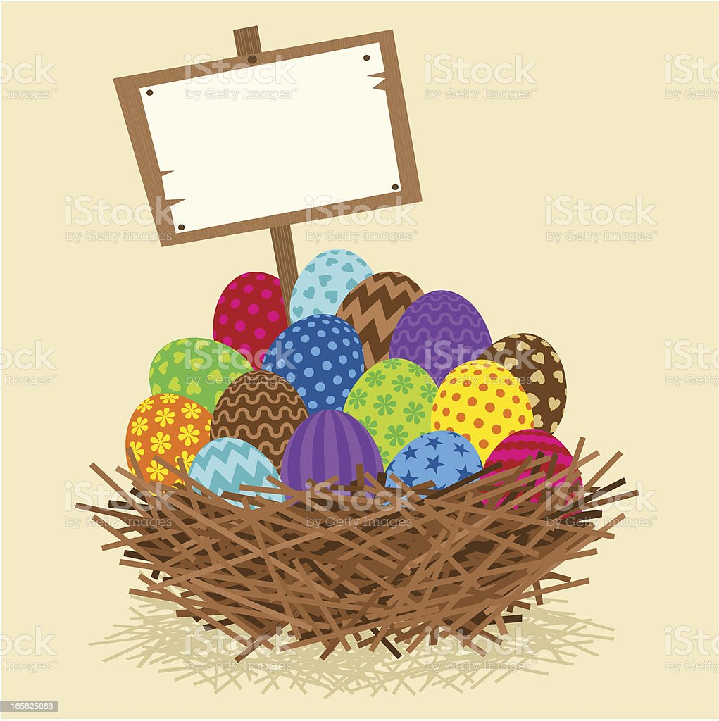 Easter nest vector art illustration