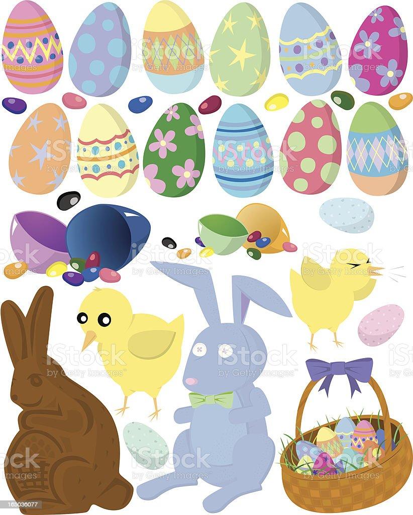 Easter Objects vector art illustration