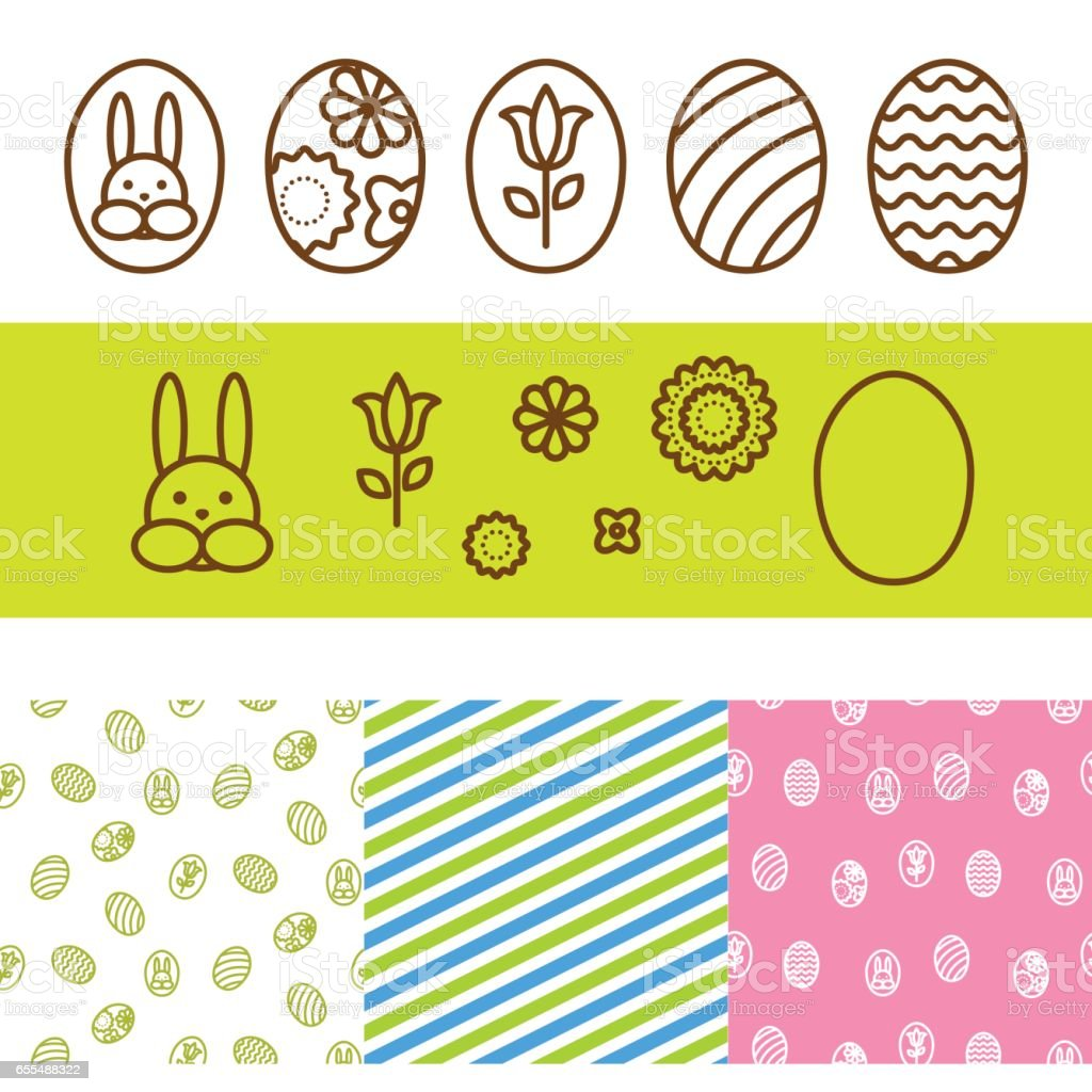Easter outline egg vector icons vector art illustration