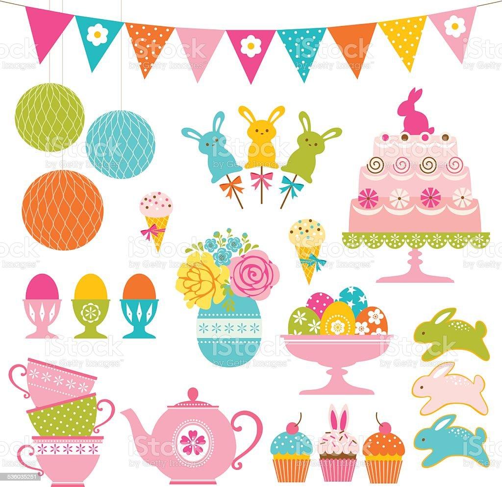 Easter party set vector art illustration