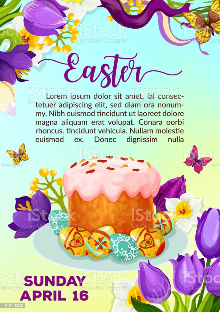 Easter paschal cake paska kulich vector poster vector art illustration