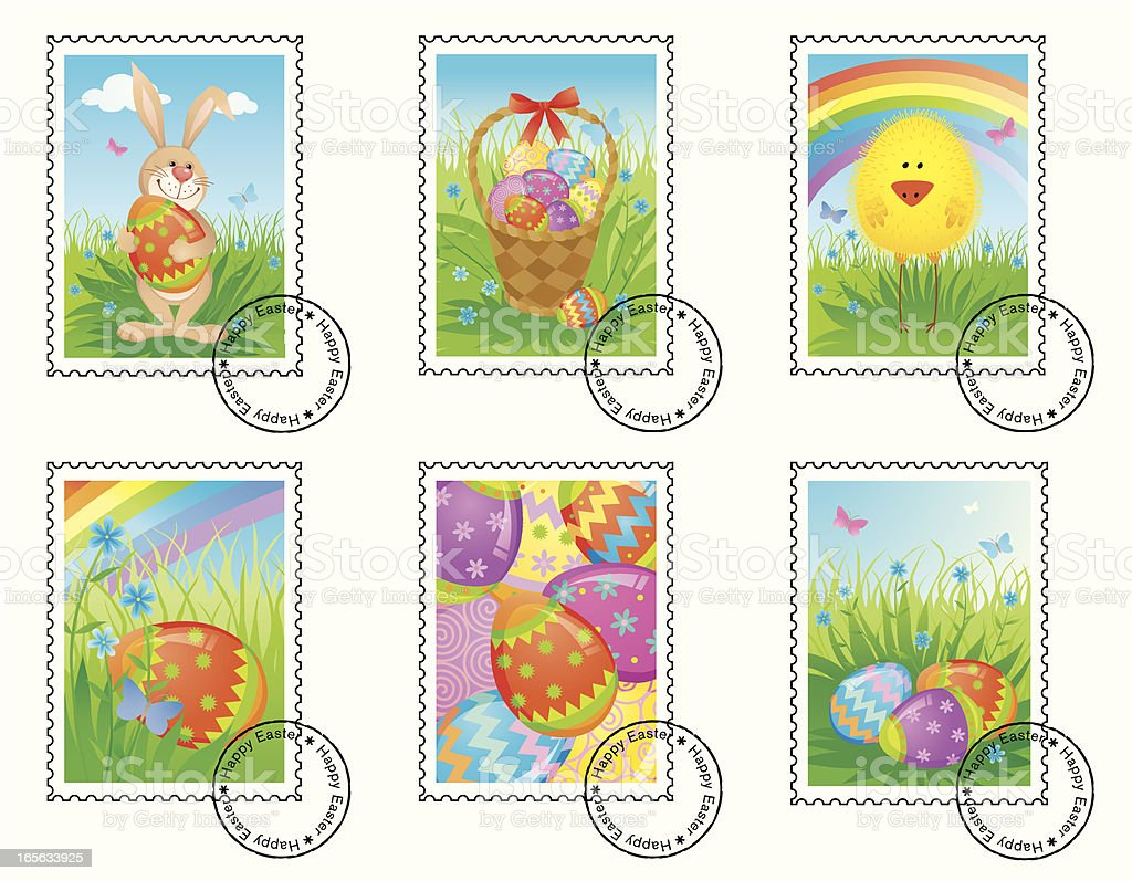 Easter postage stamps royalty-free stock vector art