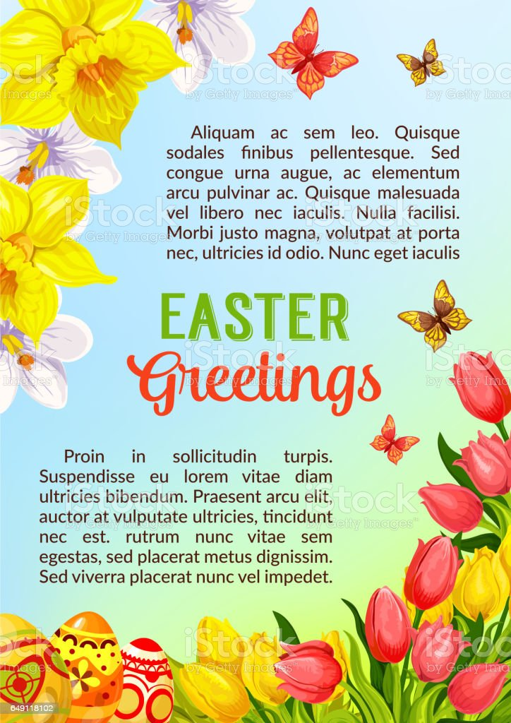 Easter poster greeting paschal eggs vector flowers vector art illustration