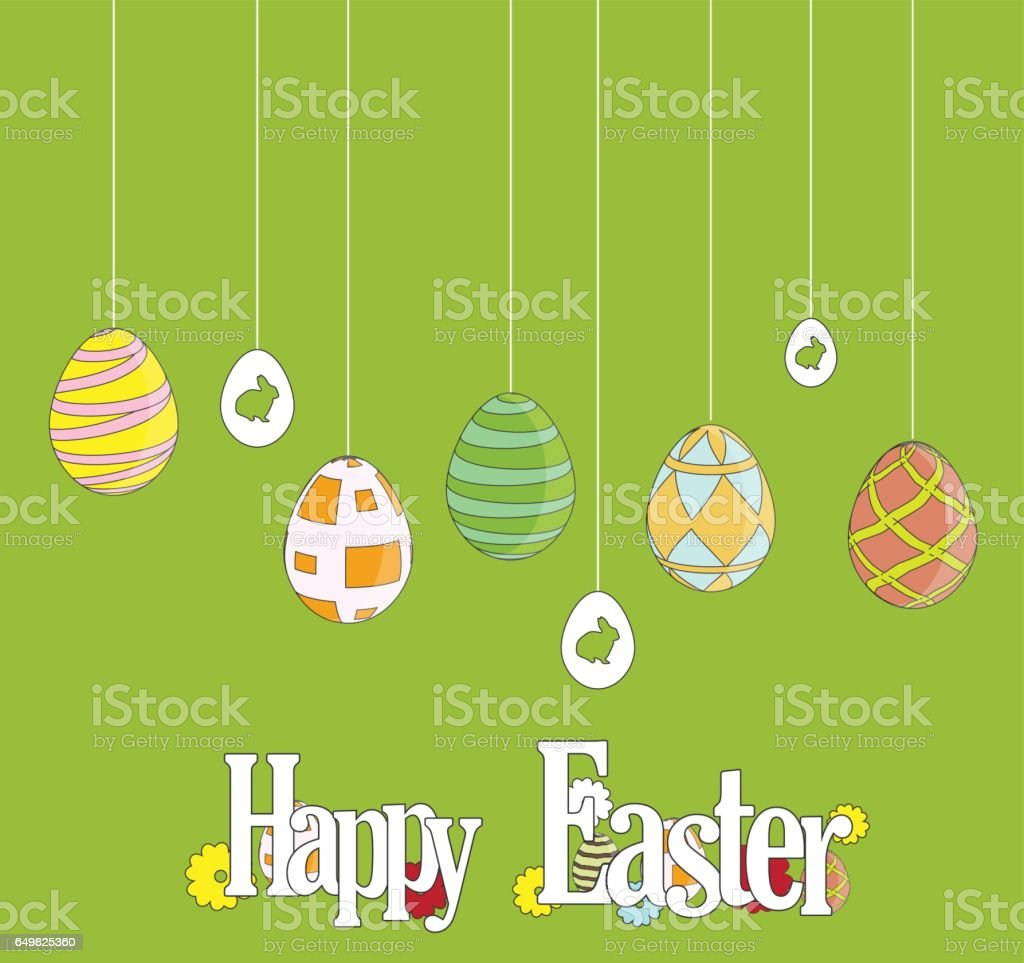 Easter poster. Hanging cute eggs on green background vector art illustration