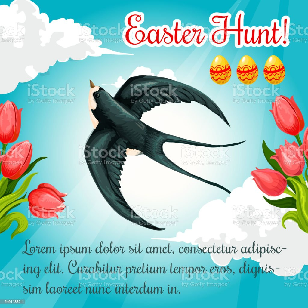 Easter poster swallow, paschal eggs vector flowers vector art illustration