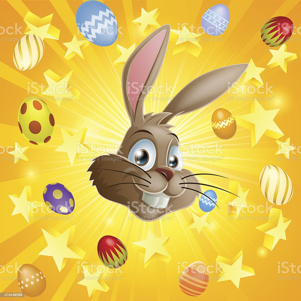Easter rabbit and chocolate eggs vector art illustration