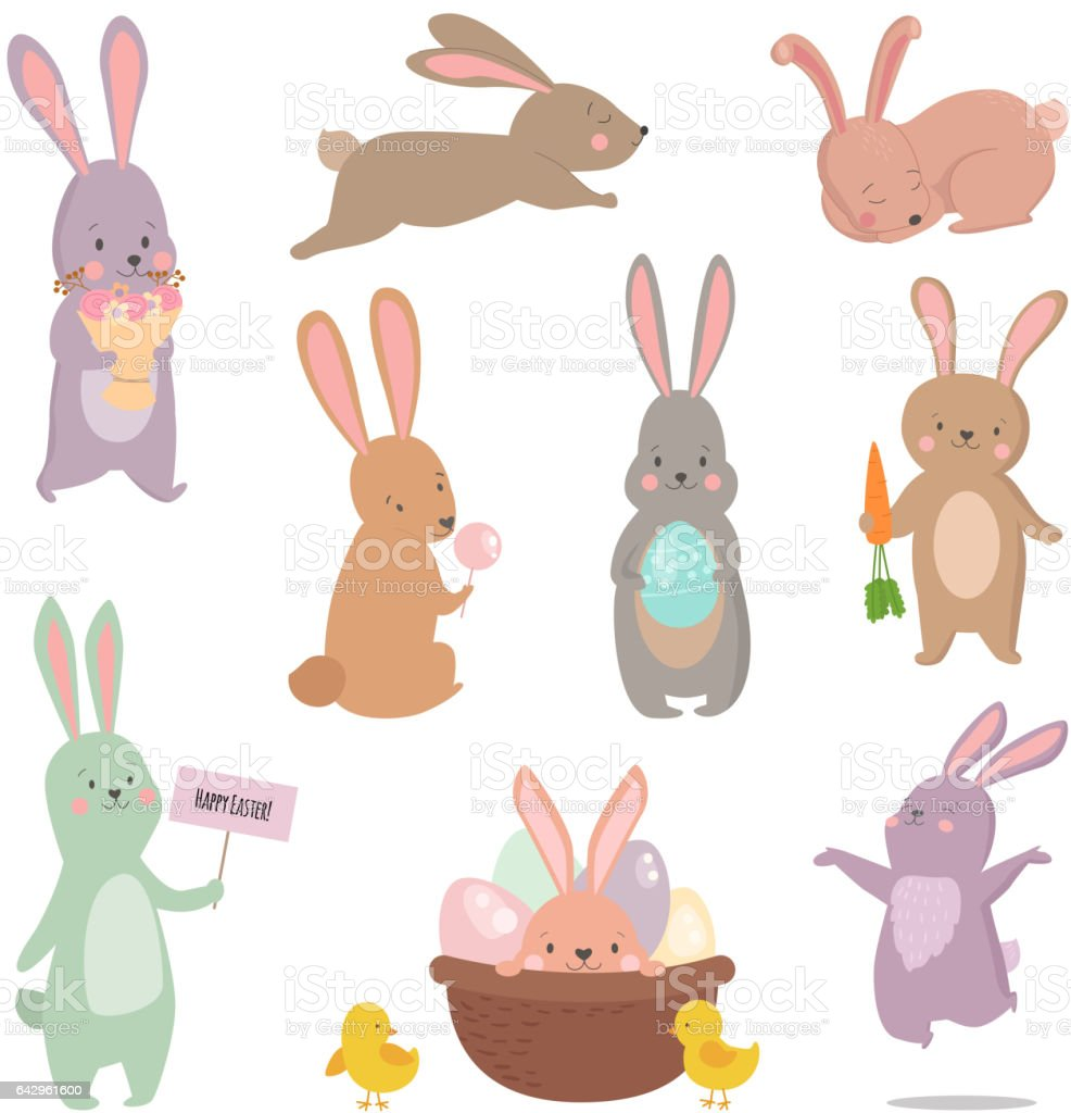 Easter rabbit character bunny different pose vector set vector art illustration