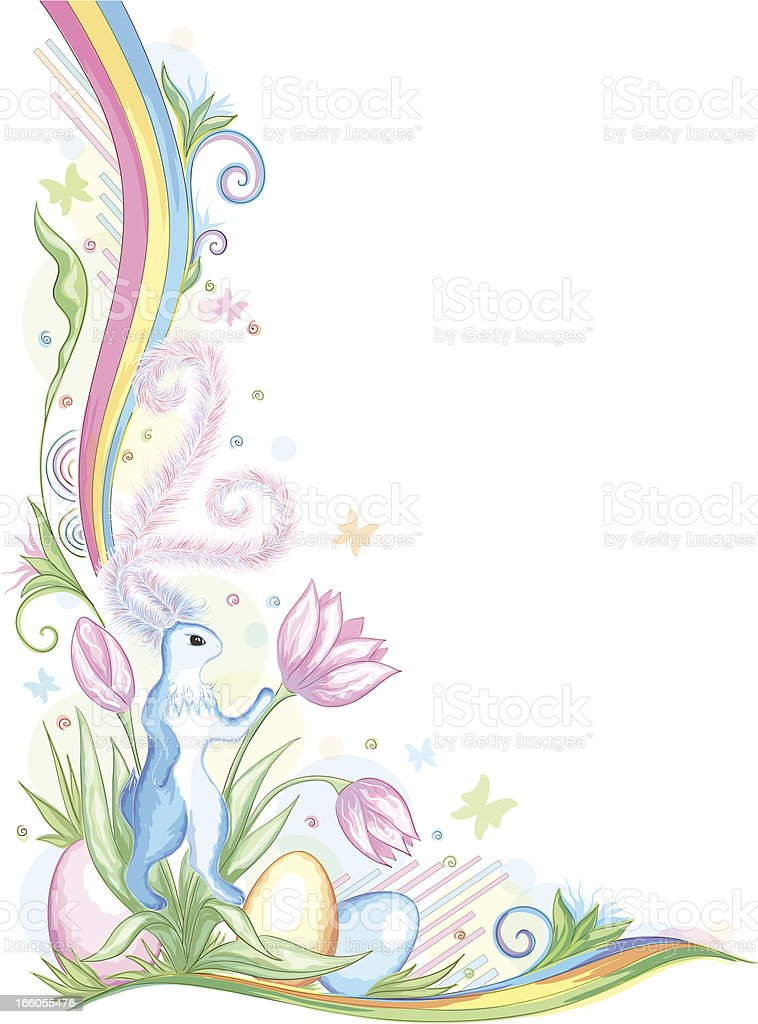 Easter rabbit with eggs above flowers royalty-free stock vector art