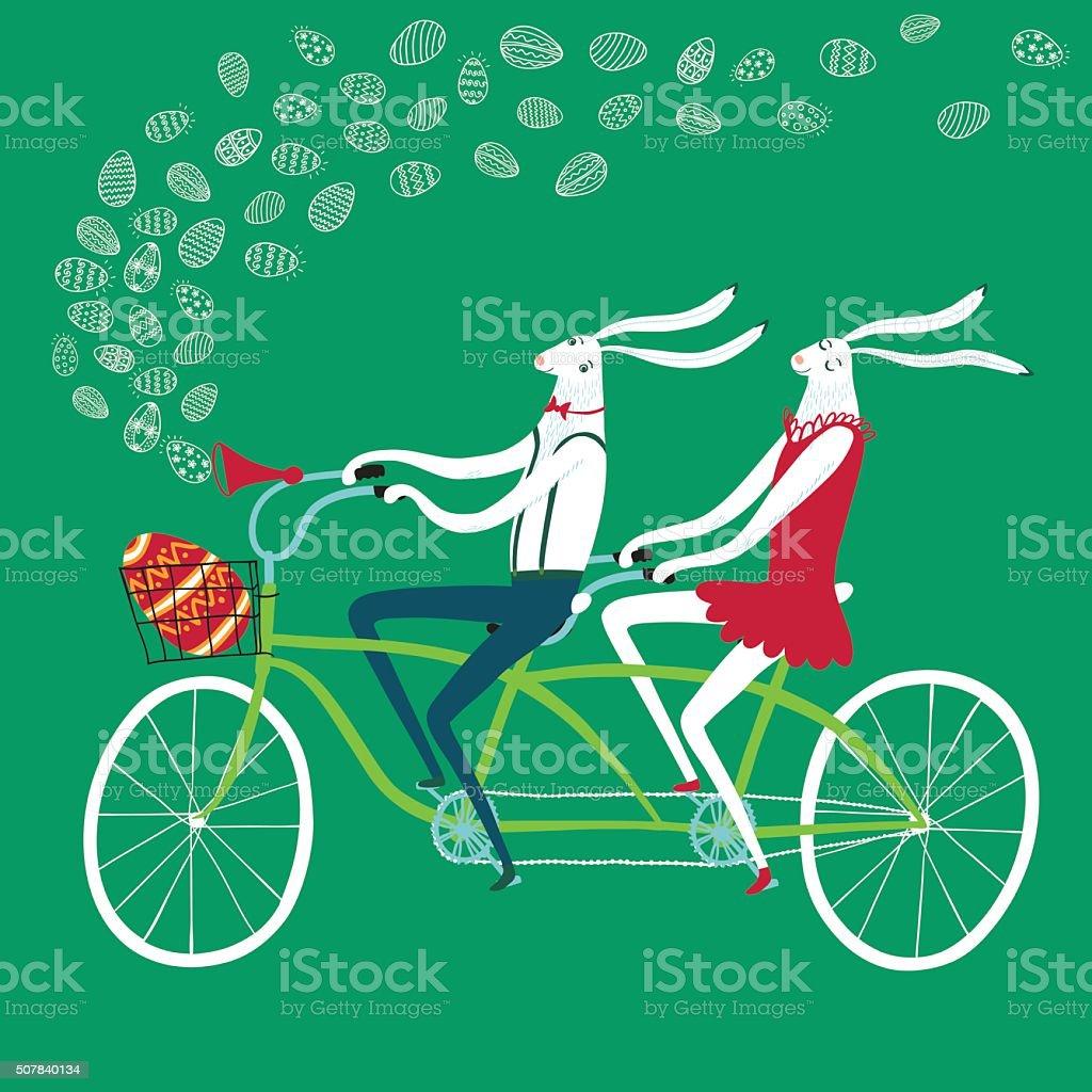 Easter rabbits cyclists illustration vector art illustration