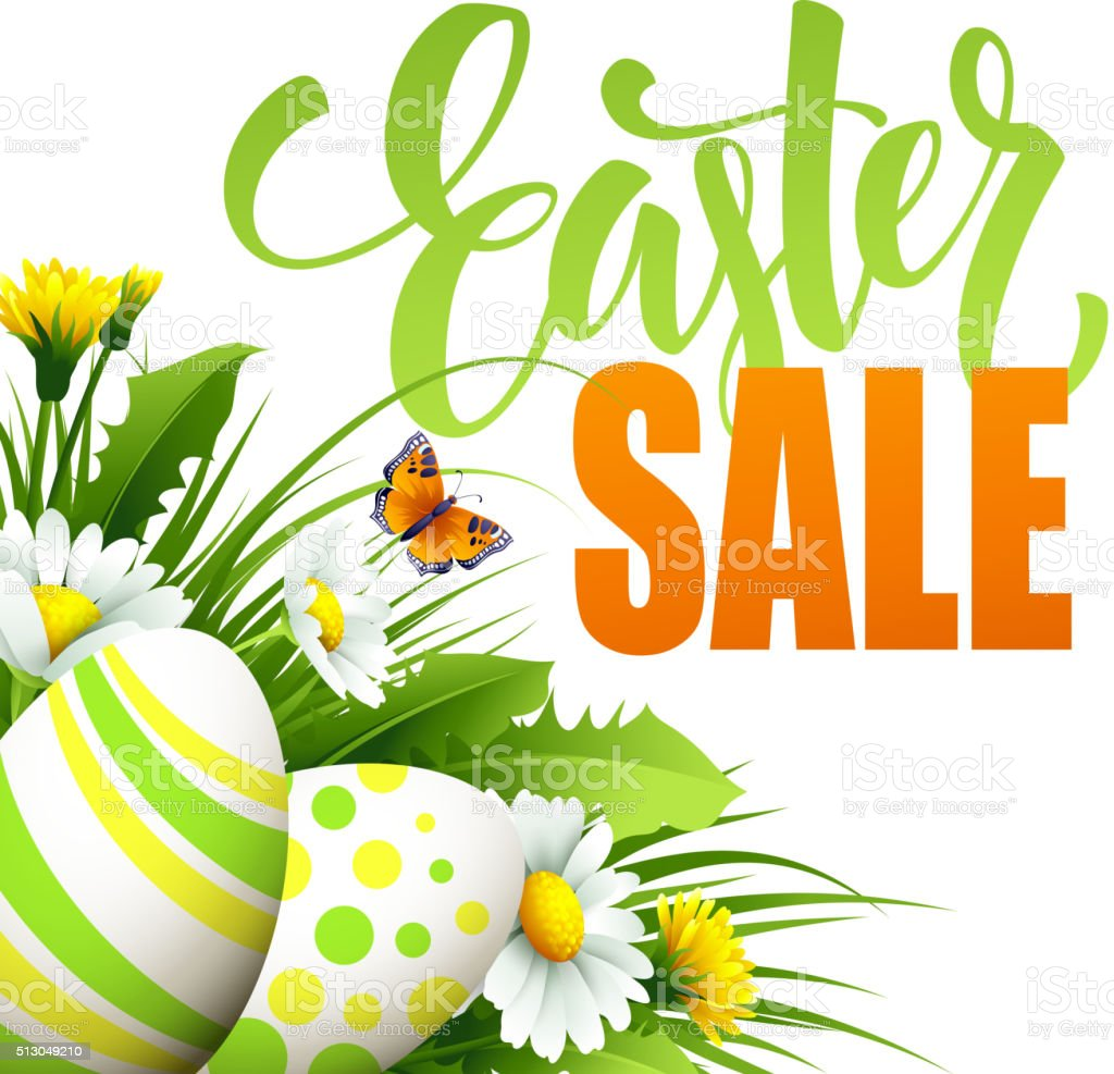 Easter sale background with eggs and spring flower. Vector illustration vector art illustration