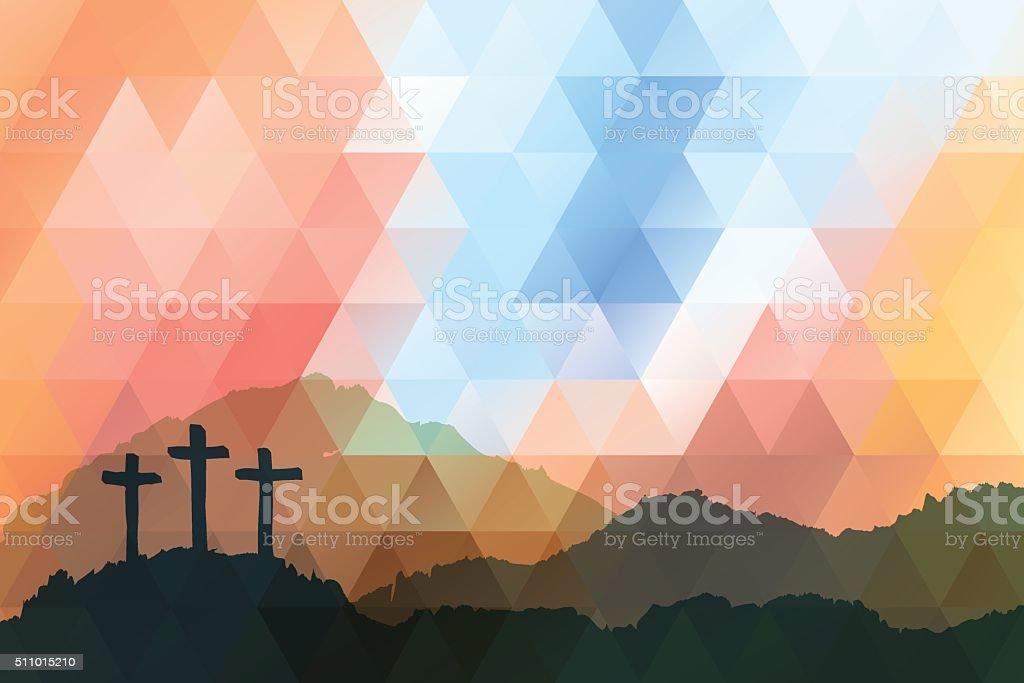 Easter scene with cross. Jesus Christ. Polygonal vector design. vector art illustration