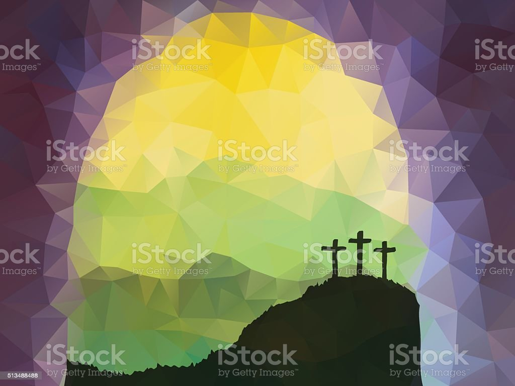 Easter scene with cross. Jesus Christ. Polygonal vector design. vector art illustration