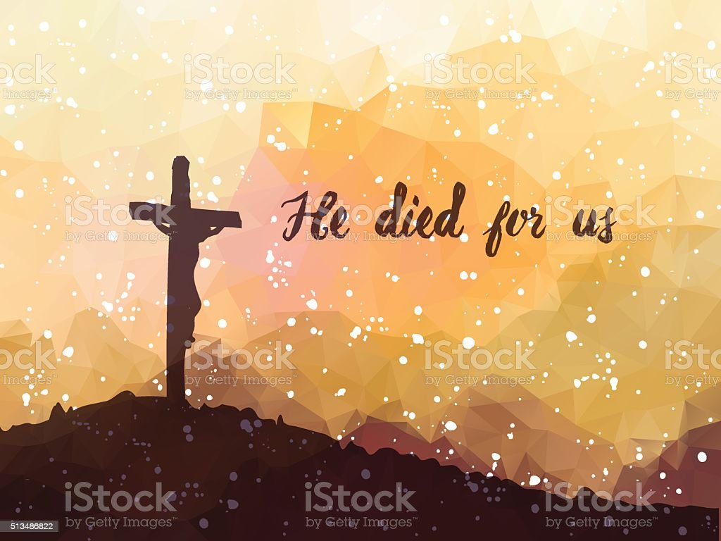 Easter scene with cross. Jesus Christ. Watercolor vector illustr vector art illustration
