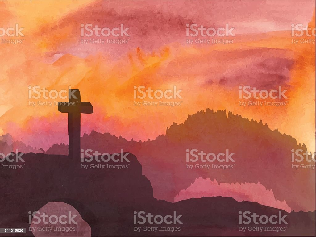 Easter scene with cross. Jesus Christ. Watercolor vector illustration vector art illustration