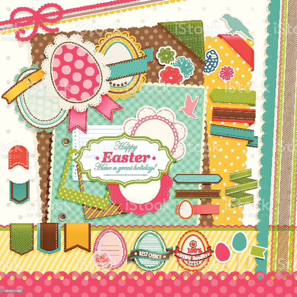 Easter scrapbook elements. vector art illustration