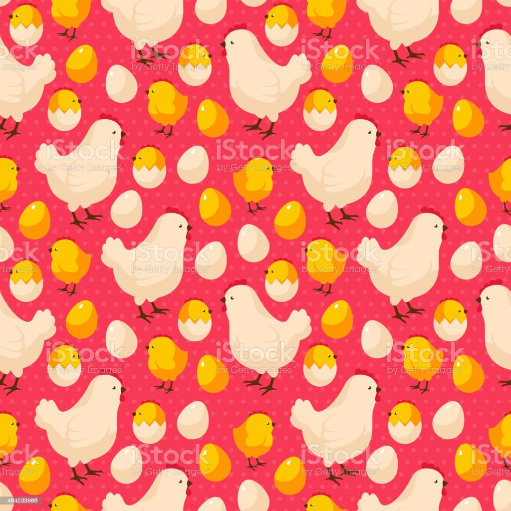 Easter seamless pattern with chicks, hens and colorful eggs. vector art illustration