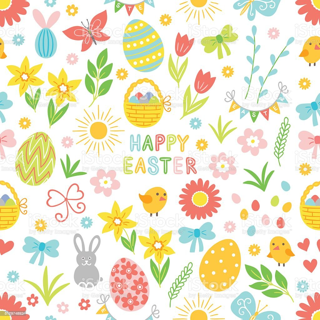 Easter seamless pattern with flower, branch, holiday eggs, basket, bow vector art illustration