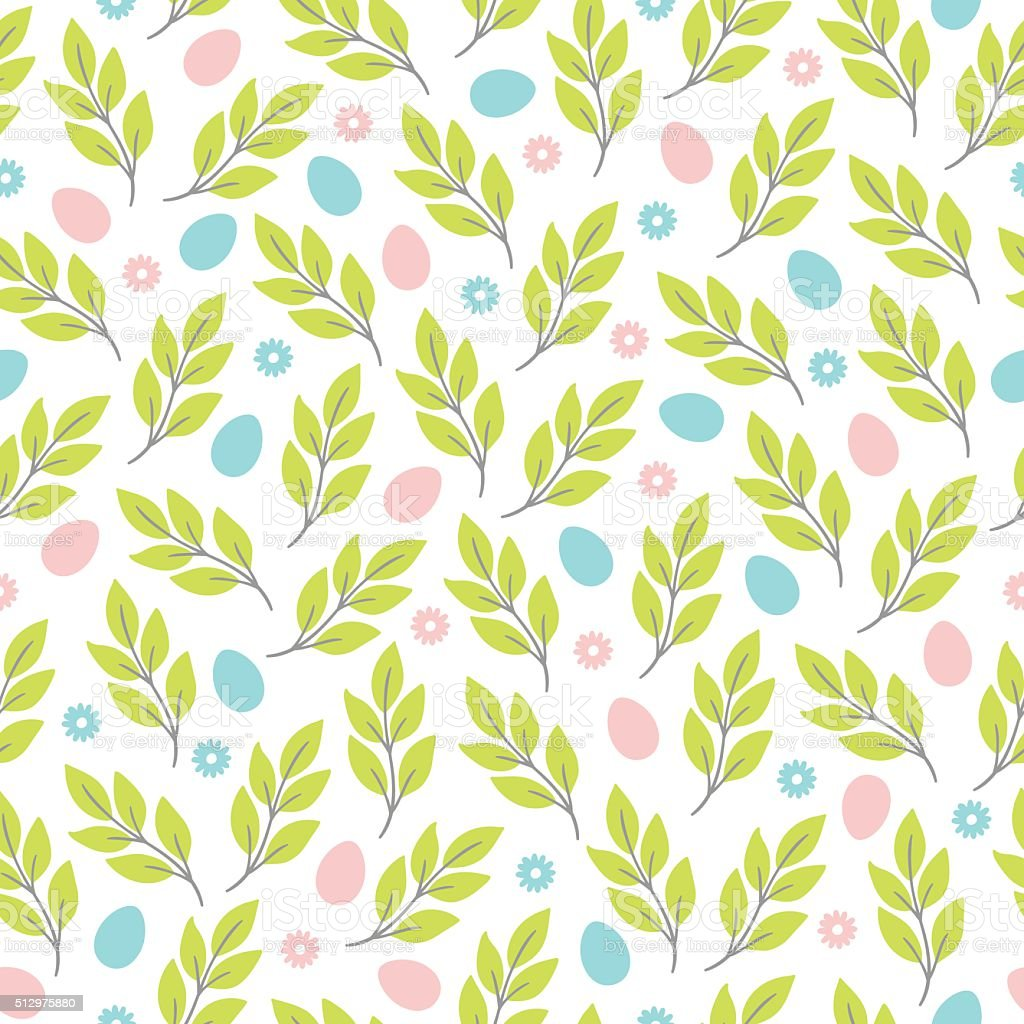 Easter seamless pattern with flowers, branches and eggs vector art illustration