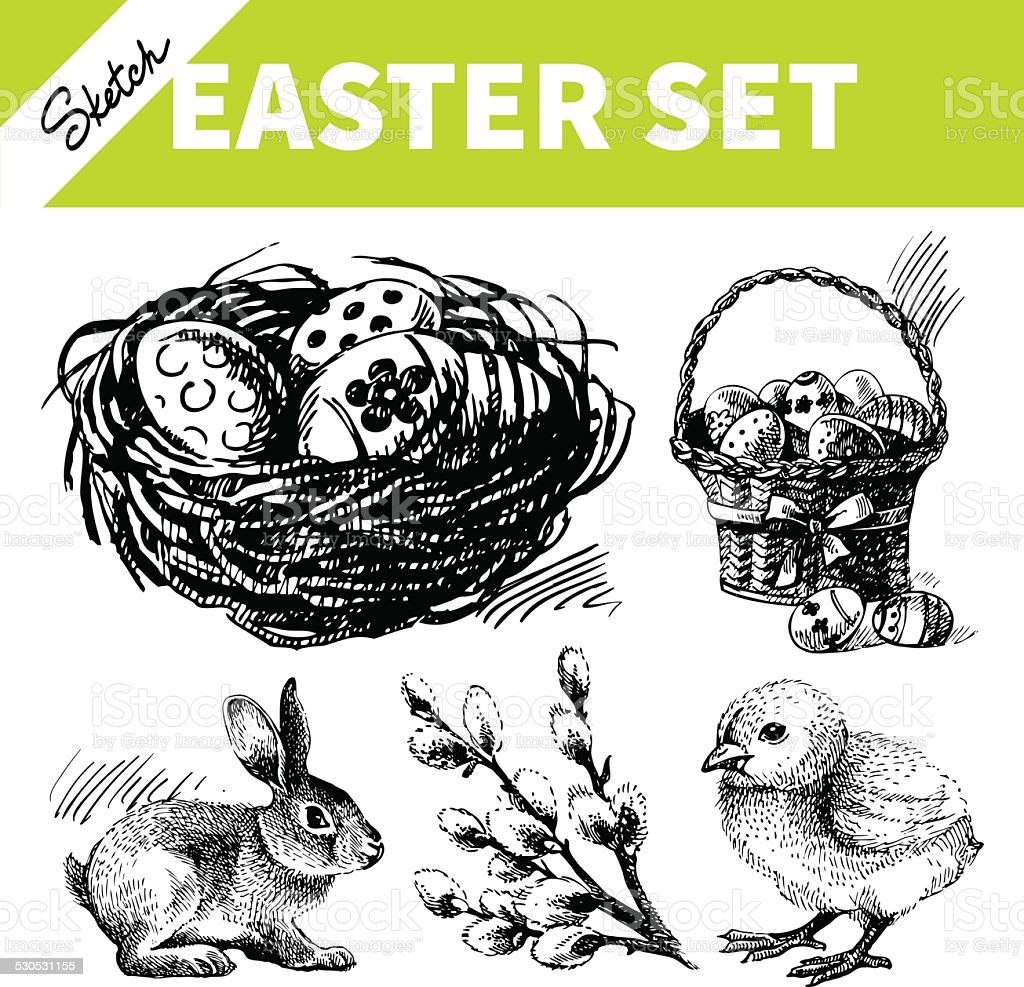 Easter set vector art illustration