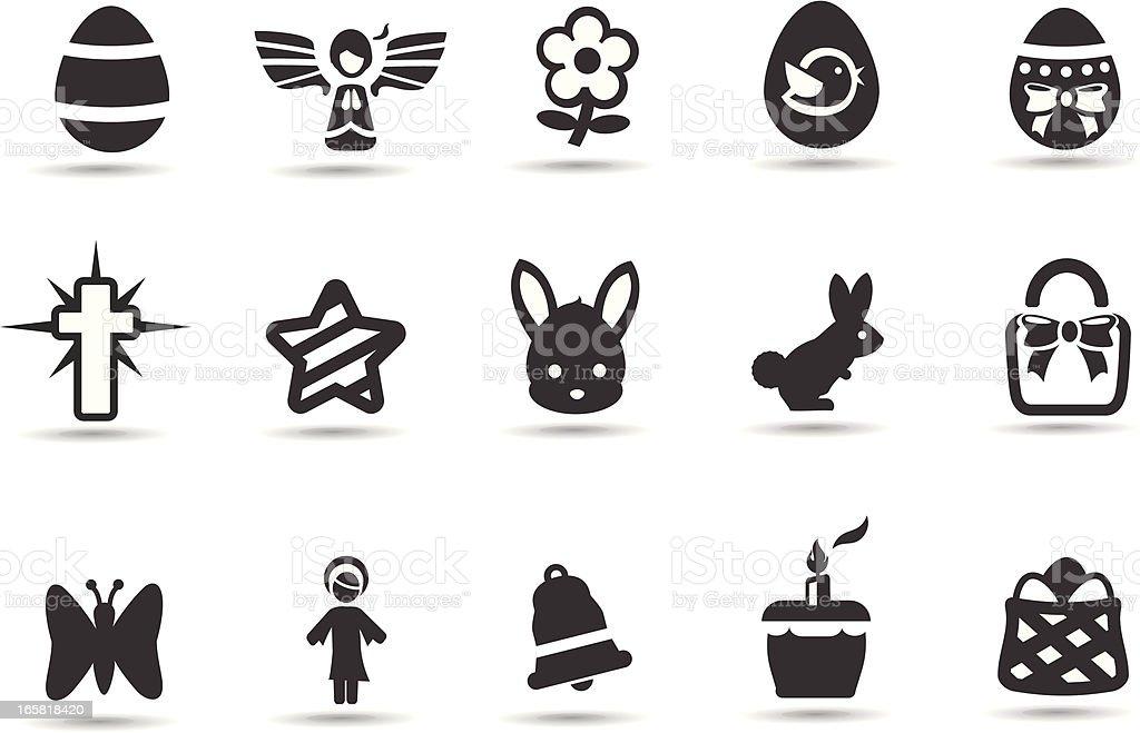 Easter Spring Icons vector art illustration