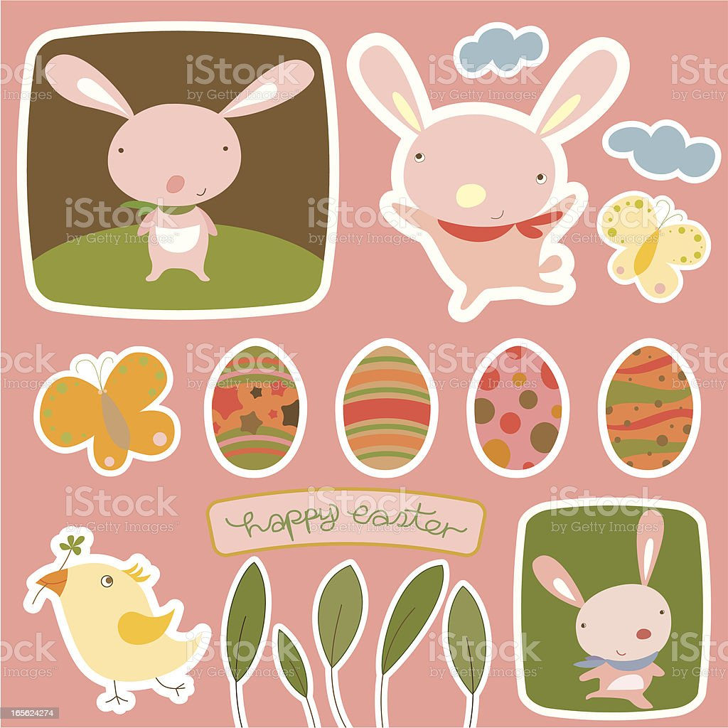 Easter Stickers Collection royalty-free stock vector art