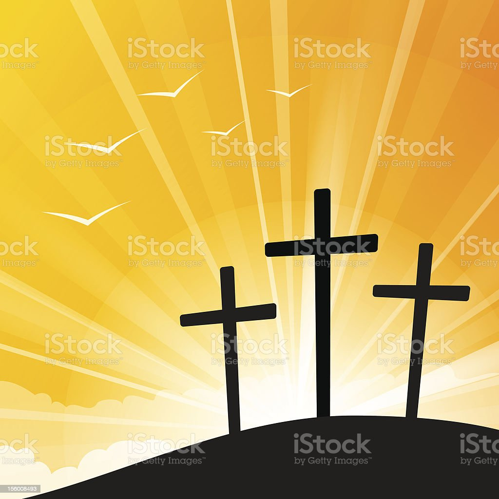 Easter style Three Crosses royalty-free stock vector art