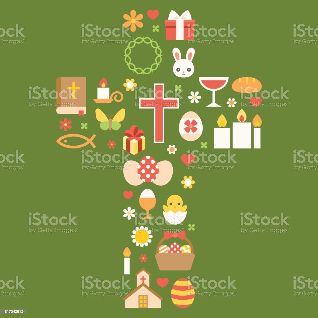 easter symbolic arrange as cross for celebrate easter vector art illustration