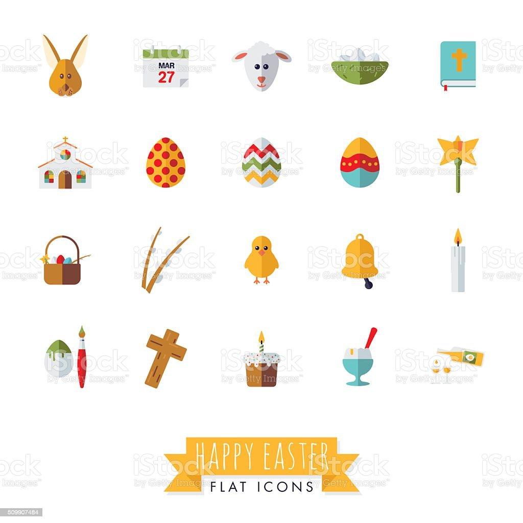 Easter Symbols Flat Design Vector Icon Set vector art illustration