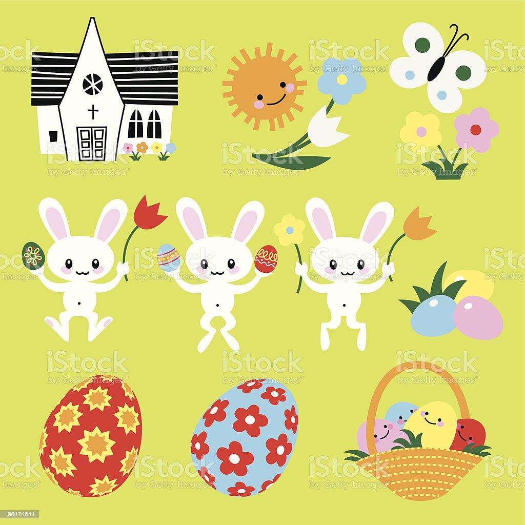Easter Symbols vector art illustration