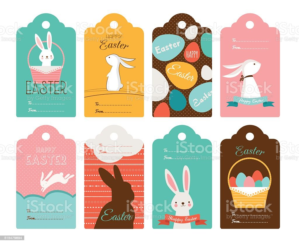 Easter tag collection with bunnies and Easter eggs. Happy Easter vector art illustration