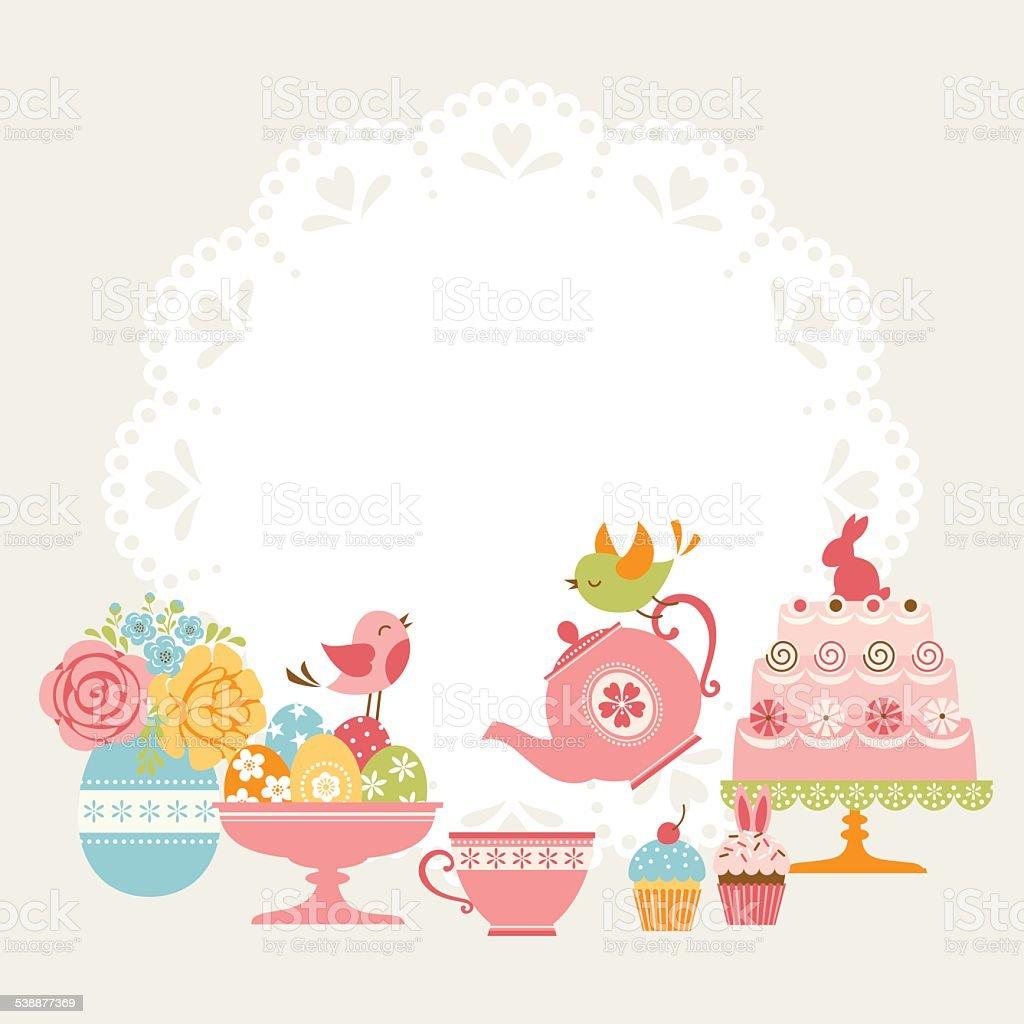 Easter tea party vector art illustration