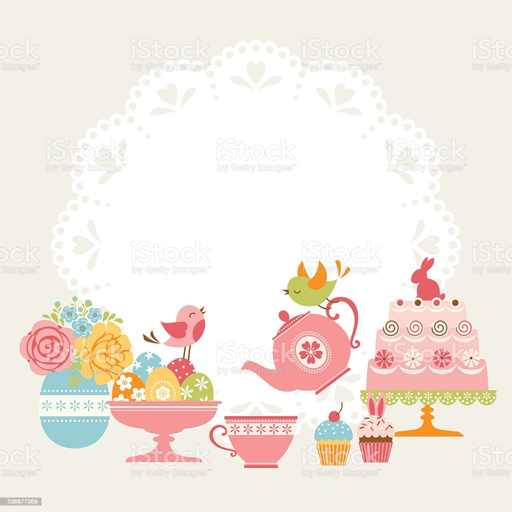 Easter tea party vector art illustration
